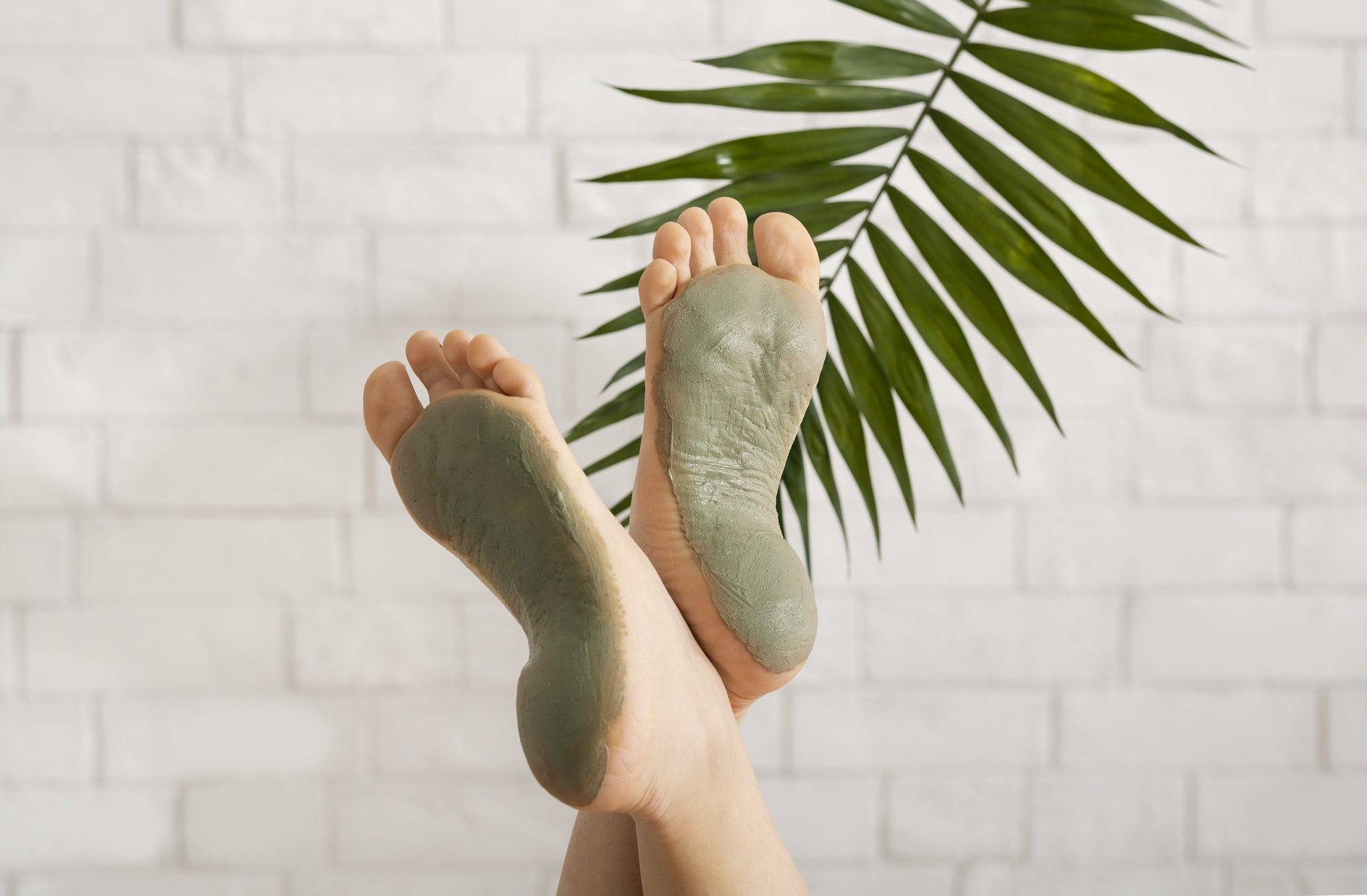 Spa foot care concept. Treatment mask for leg